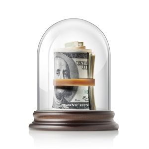 Money in a glass case